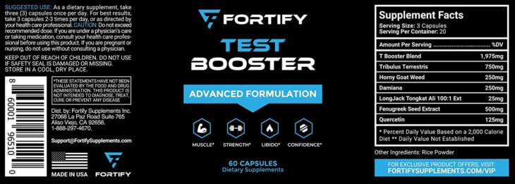 Fortify Supplements Test Booster Advanced Formulation